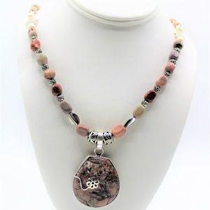 Jasper pendant long beaded necklace